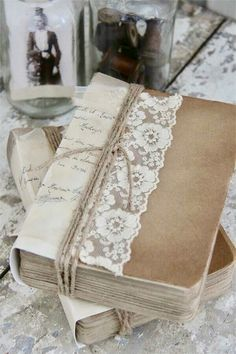 Vintage decorated books in a sweet vignette
