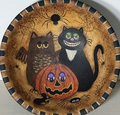 Folk Art Halloween Wood Bowl Primitive Style Black Cat