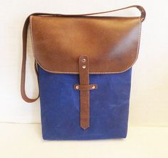 Blue Tall Waxed Canvas Single Leather Strap Messenger by ottobags, $139.00