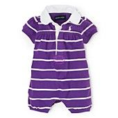 Ralph Lauren Childrenswear Infant Girls' Rugby Stripe Bubble Shortall - Sizes 3-9 Months