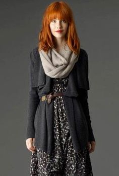 Belted cardigan over printed dress, with scarf