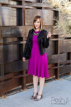 Stacey's Look: Ann Taylor Dress; DVF Jacket; Fendi Heels); Banana Republic Necklace; Lanvin Purse; Smith & Cult Lip Lacquer