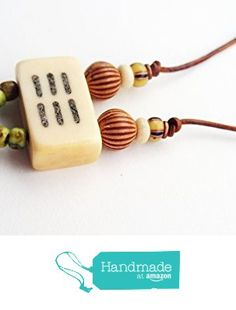 ART::WEAR Necklace by Cherie Lester, Vintage Mahjong Tile, Green & Black Czech Seed Beads with Wood Beads on Genuine Reddish-Brown Leather Cord. from ART::WEAR Necklaces by Cherie Lester https://www.amazon.com/dp/B01N350JR0/ref=hnd_sw_r_pi_dp_autHybYT93FD0 #handmadeatamazon