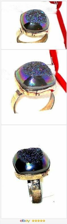 Blue Drusy Quartz Sterling Silver Ring Size 7 USA SELLER | eBay 50 ...