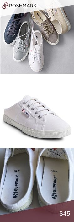 SUPERGA Slip-On White Sneakers SUPERGA  Unisex Slip-ons  They do not run true to size so I have listed them for the size they will fit!  They will fit like 8 or 8.5 women's  Gently used condition  No odor  Yellowing around rubber sole on canvas, light wear on bottoms of sole. I haven't tried using bleach or stain remover but it looks like it would lift out. Superga Shoes Sneakers