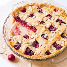 Here's how to make a classic fresh cherry pie completely from scratch. Add a little sprinkle of toasted almonds to amp up the flavor!