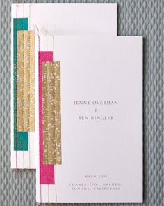 Day-of Wedding Stationery Inspiration and Ideas: Stitched and Embroidered via Oh So Beautiful Paper