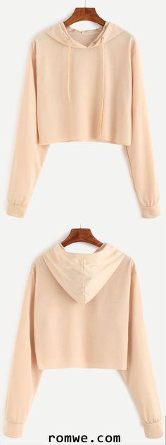 Apricot Drawstring Hooded Crop Sweatshirt