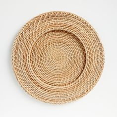 Handcrafted of rattan, our Artesia natural charger is woven in a pattern known as hapao. Rattan, Wicker, Crate And Barrel, Plated Reviews, Shops, Organic Modern, Shape And Form, Crates, Amazing
