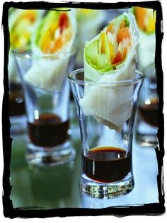 Spring rolls served individually with soy sauce look chic, clean, and delicous. The Effective Pictures We Offer You About barn wedding catering A quality picture can tell Appetizers For Party, Appetizer Recipes, Shot Glass Appetizers, Catering Food, Wedding Catering, Catering Ideas, Catering Display, Wedding Canapes, Catering Events