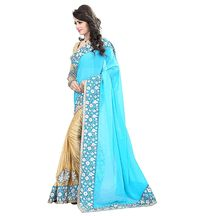 Light Blue Designer Bollywood Style Georgette Embroidered Saree For Women