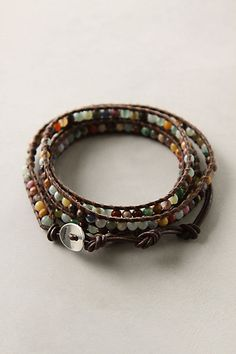 "chan luu @ anthro  leather & multibead wrap bracelet 32"" long"