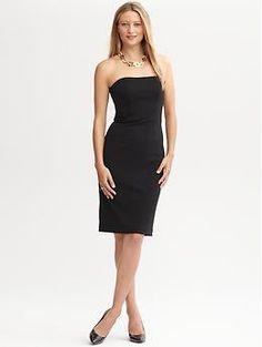 Black strapless knit dress | Banana Republic
