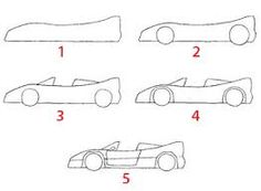 """Résultat de recherche d'images pour """"dessiner une voiture de course facilement"""" Easy Drawings For Kids, Drawing For Kids, Crafts For Kids, Arts And Crafts, Craft Kids, Quick Draw, Car Sketch, Recherche Google, Kids Rugs"""