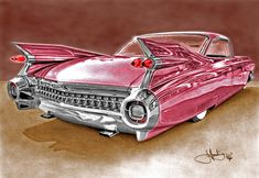Pink Cadillac #illustration #drawing #classiccars