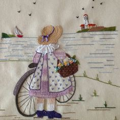 👩🌾 it's not my work just for embroidery ideas Hand Embroidery Videos, Embroidery Motifs, Simple Embroidery, Hand Embroidery Stitches, Silk Ribbon Embroidery, Hand Embroidery Designs, Vintage Embroidery, Cross Stitch Embroidery, Embroidery Ideas