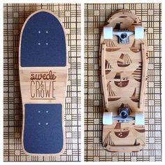 Swede & Crowe skateboard #skateboard #skatedeck #fishboard #swedeandcrowe #tugboat #bamboo #wood #lasercut #shaunhillillustration #design #board
