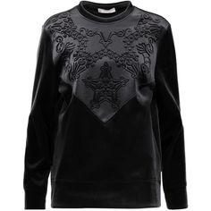 Versace Collection Embossed velvet sweatshirt (4,695 MXN) ❤ liked on Polyvore featuring tops, hoodies, sweatshirts, black, loose sweatshirt, loose fitting tops, versace top, velvet top and padding top