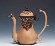 Tea in Tunisia Michael and Cynthia Gibson 2012 Turned and carved with pyrography Bradford Pear wood Michael Gibson, Bradford Pear, Red Teapot, Teapot Design, Artist Portfolio, Tea Art, Ceramic Teapots, Chocolate Pots, Pyrography