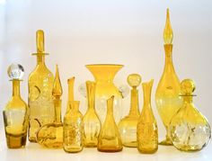 Heart of Glass - Blenko Glass Blenko Glass, Glass Bottles, Making Stained Glass, Genie Bottle, Crackle Glass, Mid Century Art, World Of Color, Carnival Glass, Mellow Yellow