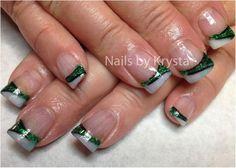 Saskatchewan Roughriders Nails, these are acrylic with a green mix that I made. Acrylic Nail Designs, Nail Art Designs, Acrylic Nails, Nails Design, Hair And Nails, My Nails, Irish Nails, St Patricks Day Nails, French Nail Art