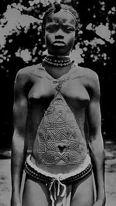 African scarification to decorate and beatify the body. Guinea Bissau - Circa 1940