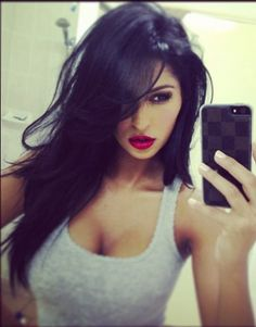 Black Hair, fierce red lips and eye makeup...back to black or stay red...decisions...