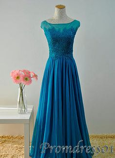 #promdress01 prom dresses - 2015 elegant blue lace chiffon cap sleeves round neck vintage long prom dress for teens, custom made ball gown.