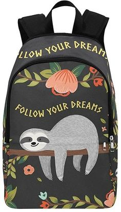 Sleepy sloths, elegant unicorns, intriguing equations, and more...you'll love the bright and unexpected prints available in this backpack! This 17.5 by 12 inch pack is made from 1200 denier waterproof nylon to keep your books and papers dry and secure. A padded back and adjustable straps make it comfortable to wear, even on a long day. Two lined main pockets and a smaller front pocket make it easy to organize gear.For more great backpacks, check out our Bags / Packs Collection.