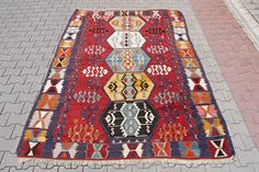 Vintage Kilim Rug: Handwoven Nomadic Turkish Rug x x 260 CM) Turkish Kilim Rugs, Bohemian Rug, Hand Weaving, Pillows, Vintage, Antiques, Unique Jewelry, Handmade Gifts, Free Shipping