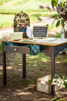Vintage Navy & Ivory DIY Wedding | Confetti  - DIY Wedding Guest Sign In Table | vintage looking props like this can be found at Old House!