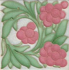 superb Art Nouveau tile by Hemixem Tile Co., Belgium. This tile is done in the tubelined process.