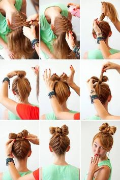 Braided upside down bow top hair