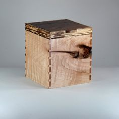 Salvaged Wood Keepsake Box Black Walnut Maple by JMCraftworks, $75.00  The wavy maple used in this box has very dramatic grain and features a knotty area that spans 3 of the 4 sides.