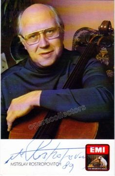 Rostropovich, Mstislav - Signed photo with cello