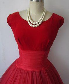 1950's Velvet and Chiffon Cocktail Dress