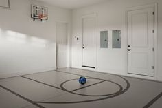 The garage in 7846 Palmilla Ct doubles as an indoor basketball half court Home Basketball Court, Indoor Basketball Hoop, Ucla Basketball, Basketball Court Flooring, Fantasy Basketball, Basketball Scoreboard, Basketball Pictures, Basketball Shoes, Basketball Training Equipment