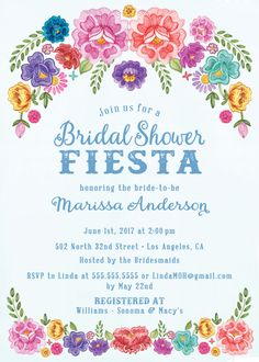 Mexican Fiesta Theme Spring/Summer Floral Bridal Shower Invitations - Spanish Inspired Invites - FREE CUSTOM COLORS - Party Ideas