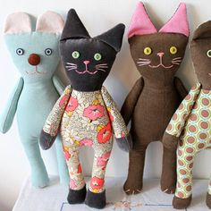 Handmade Corduroy Cats – Rising Late on Etsy – Unique Stuffed Animals   Small for Big