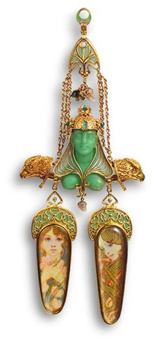Brooch, ca. 1900 Manufacturer: Georges Fouquet (French, 1862–1957); Designer: Alphonse Mucha (Czech, 1860–1939) Gold, enamel, mother–of–pearl, opal, emerald, colored stones, gold paint; Diam. 1/2 in. (1.3 cm)