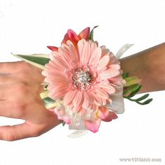 Pretty in Pink Bracelet Corsage #12COR425 see viviano.com Flower Shop prom & homecoming flowers, gerbera daisy, freesia