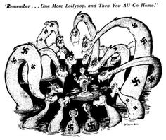 Seuss was a famous political cartoonist in the century. This particular cartoon by Seuss depicts the Appeasement Policy taken by America and Europe toward German aggression. This turning of a blind eye eventually led to WWII. Appeasement, Ap World History, American History, Canadian History, History Magazine, History Teachers, Teaching History, History Education, History Class