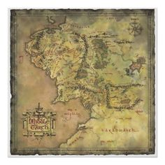 The Lord of the Rings poster: Map of Middle Earth JRR Tolkien Middle Earth Map, The Middle, Fellowship Of The Ring, Lord Of The Rings, Lord Rings, Fantasy Map, Fantasy World, Earth Poster, O Hobbit