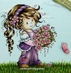 Skin/ Peau: E0000, 000, 00, 02, 11 Hair/ Cheveux: E49, 55, 59 Clothes/ Vêtements: C0, 1, 3, R81, 83, 85, RV00, 02, 91, 93, 95, V09, 12, 15, 17 Flowers/ Fleurs: R81, 83, 85, Y15, YG91, 93, 95, 97 Butterfly/ Papillon: RV19, 14, 13, 11 Sky and Clouds/ Ciel: BG0000, BV20, C1, 0, 00 Grass/ Herbe: G28, YG03, 17, 95, 97, 99
