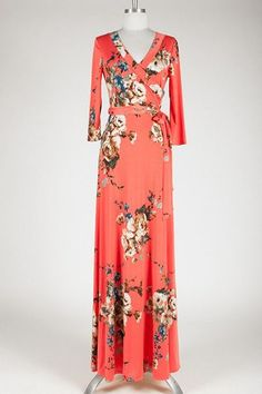 Coral Crush Floral Wrap Maxi Dress - Find the perfect outfit for any occasion at ShopLuckyDuck.com