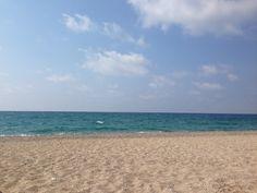 The beach at Lithos Beach Bar, Mytikas, Greece