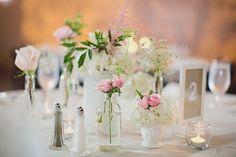Milk Glass & Clear Glass Mixed with soft flowers--Zach & Jessie--King PlowAtlanta Arts Center Wedding