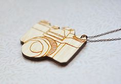 Wood Pendant  vintage camera Laser cut by TheTwentyFingers on Etsy, $17.00