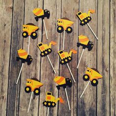 Construction cupcake toppers set of 12 or 24 by BellsNBerries