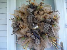 Primitive~ XL Crow~ Door~Wall Wreath~Mini Sunflowers~Bows~Mesh~Metal Stars #Handmade Mini Sunflowers, Metal Stars, Door Wall, Deco Mesh, Door Wreaths, Burlap Wreath, Crow, Primitive, Christmas Wreaths